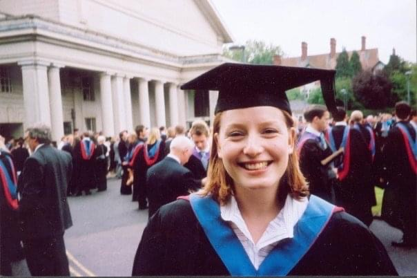 A university graduation ceremony with everyone wearing academic gowns