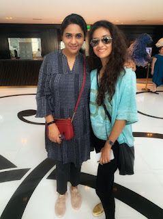 Keerthy Suresh in Blue Color T-Shirt with Cute Smile with Sridevi Sreedhar for SIIMA