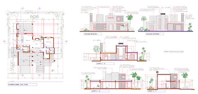 House plan with elevations and sections DWG