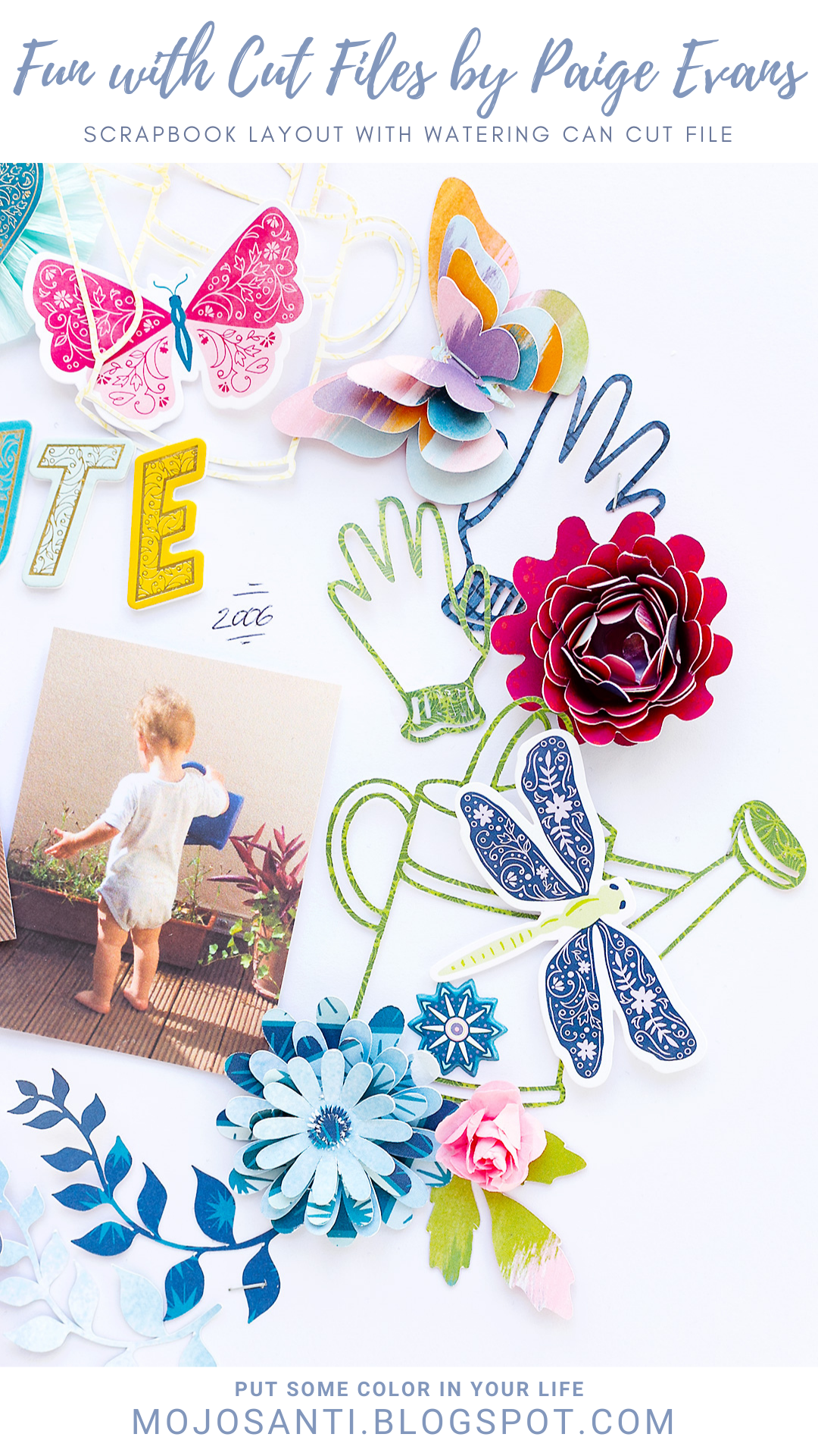Pinterest Pin Scrapbook Layout with Watering Can Cut File by Paige Evans American Crafts Sandra Dietrich Mojosanti