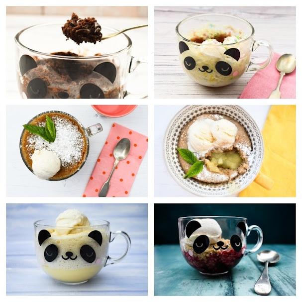 A variety of vegan mug cakes and puddings