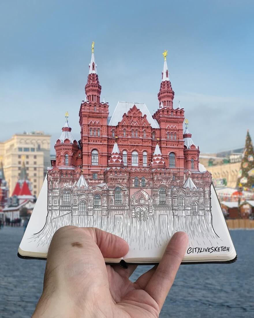 13-State-Historical-Museum-Moscow-Pietro-Cataudella-3D-Architectural-Urban-Moleskine-Sketches-www-designstack-co
