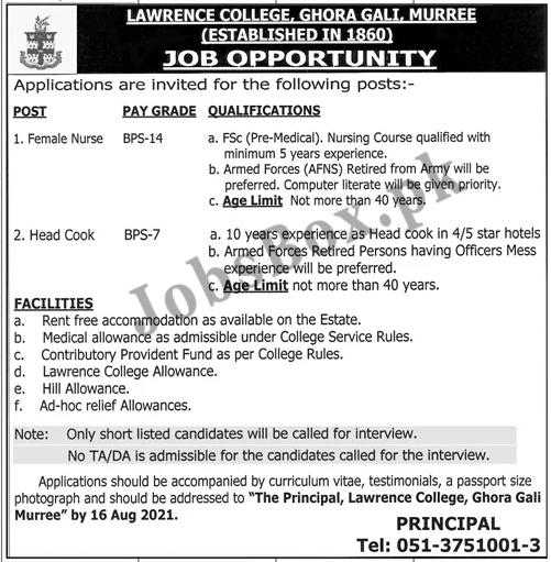 Lawrence College Ghora Gali Murree Jobs 2021 in Pakistan