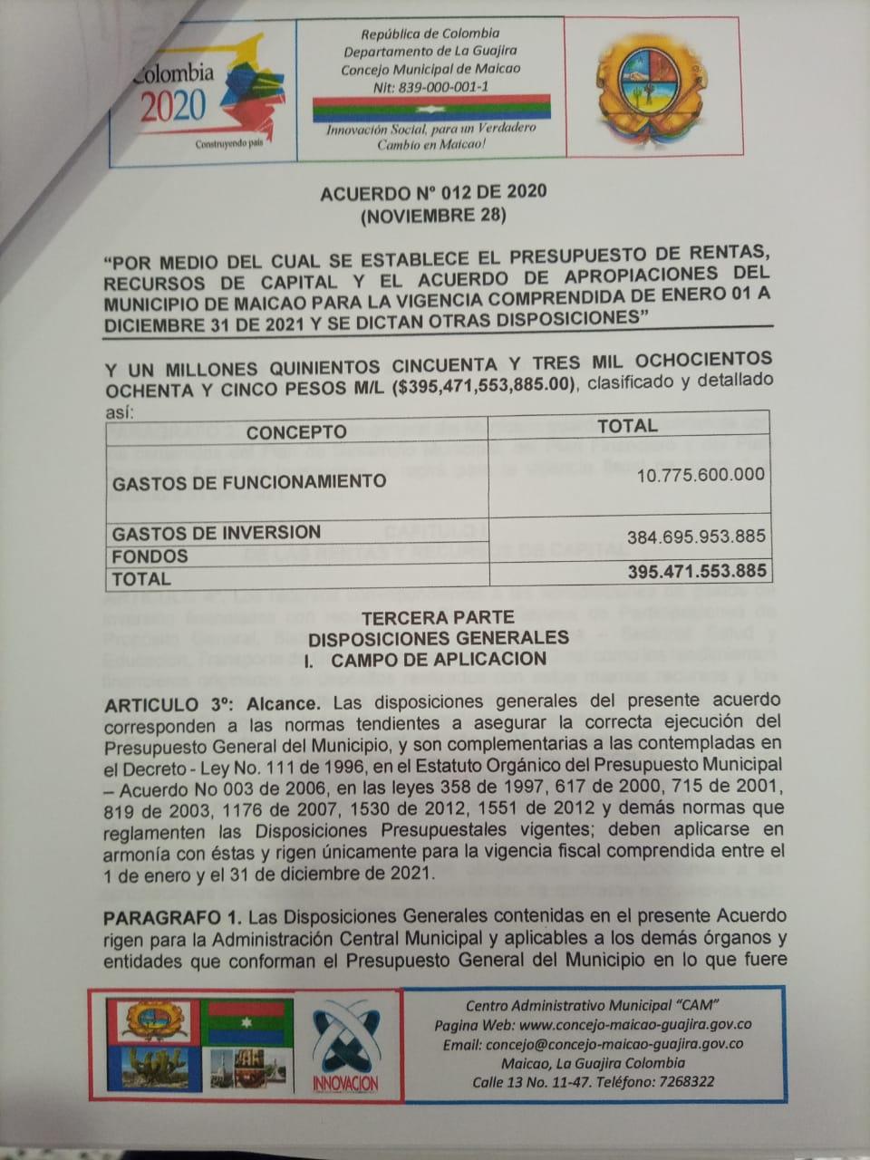 hoyennoticia.com, $395 mil 471 millones 553 mil 885 presupuesto de Maicao para el 2021