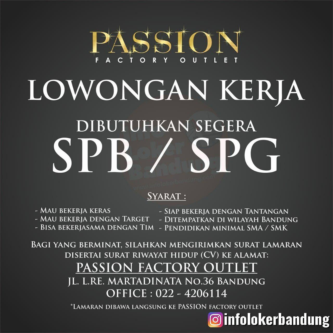 Lowongan Kerja Passion Factory Outlet Bandung Agustus 2019