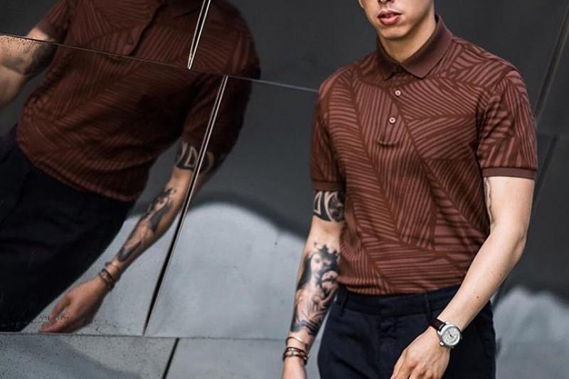 Brown color flower print men's polo t-shirt