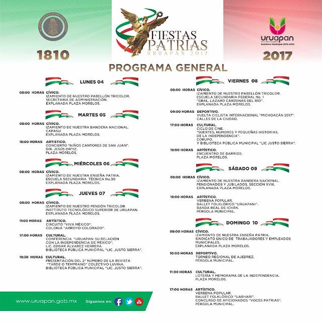 programa fiestas patrias uruapan 2017