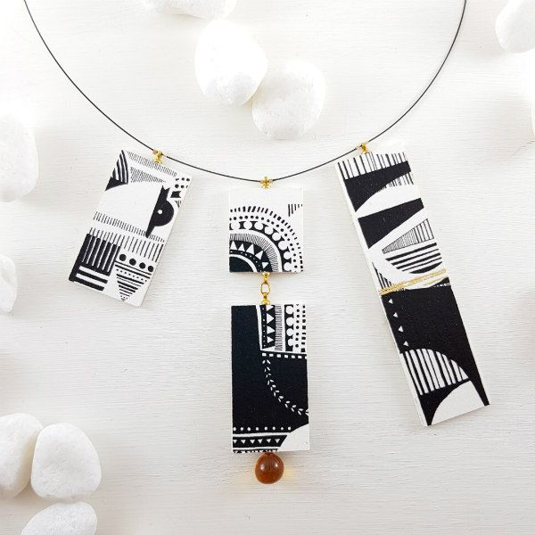 Scandinavian folk style black and white necklace with hand-painted watercolor paper pendants and Murano glass pearls