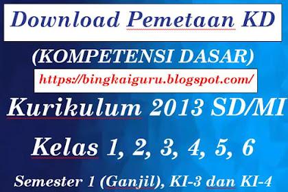 Download Pemetaan KD (Kompetensi Dasar) Kurikulum 2013 SD/MI Kelas 1, 2, 3, 4, 5, 6 Semester 1 (Ganjil), KI-3 dan KI-4