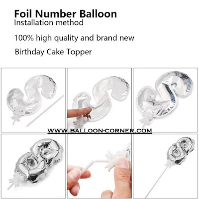 Mini Number Foil Balloon Cake Topper