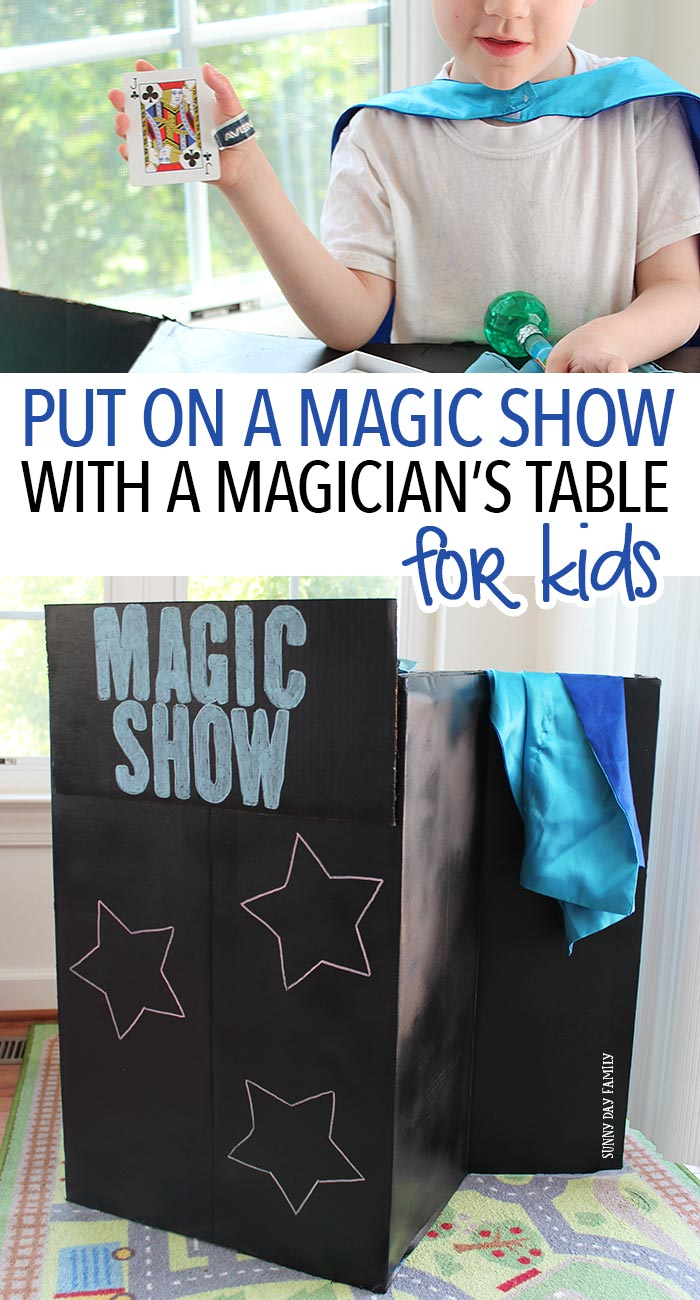 Let the kids put on a magic show with a fun DIY magician's table! Inspired by the magic of our favorite Disney Junior shows, Elena of Avalor and Sofia the First, this super cute upcycle project will inspire hours of pretend play for kids. See how easy it is and how to encourage your kids to try a little magic all summer long! (AD)