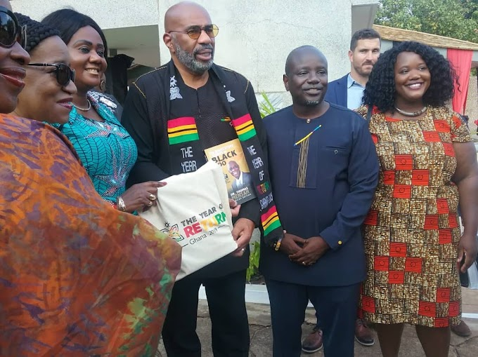American Comedian And TV Host, Steve Harvey arrives in Ghana with family