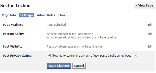 change Facebook fan page settings, targeting