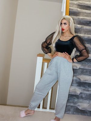 The Femme Luxe Grey Sheared Hem High Waisted Joggers in model Kailani