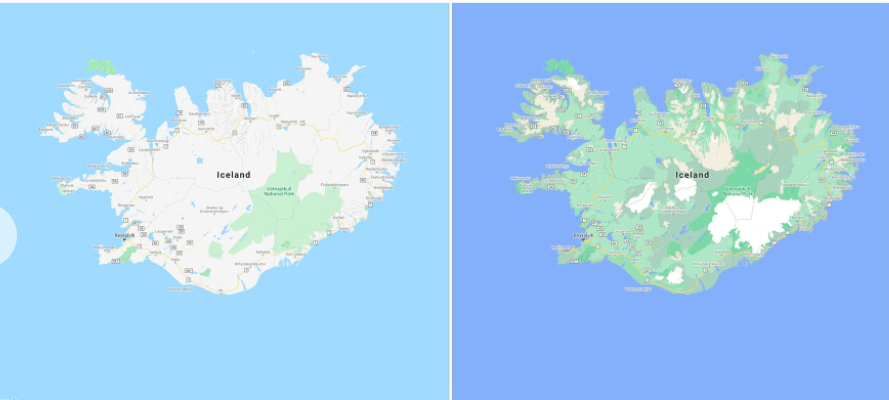 Before and after imagery of Iceland