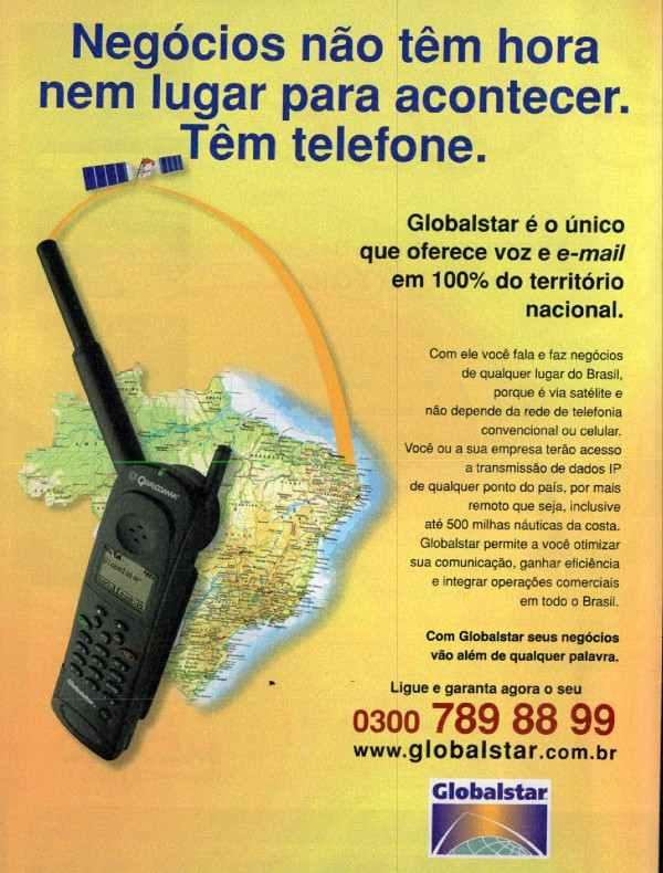 Anúncio antigo da Globalstar promovendo seus serviço de telefonia por satélite em 2001