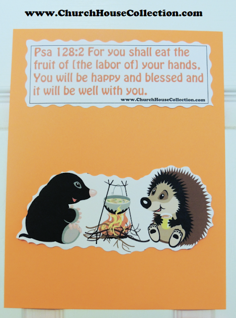 Mole And Hedgehog Cutout Craft  For Sunday School Kids Psalms 128:2  I made a free printable cutout template for you to print out and use in your Sunday school class. There is two different scriptures on one page so you can pick which one you want to use. Just have the kids cut out the animal picture using some decorative cutting scissors and then cut out the scripture and either tape or glue them down to colored construction paper.