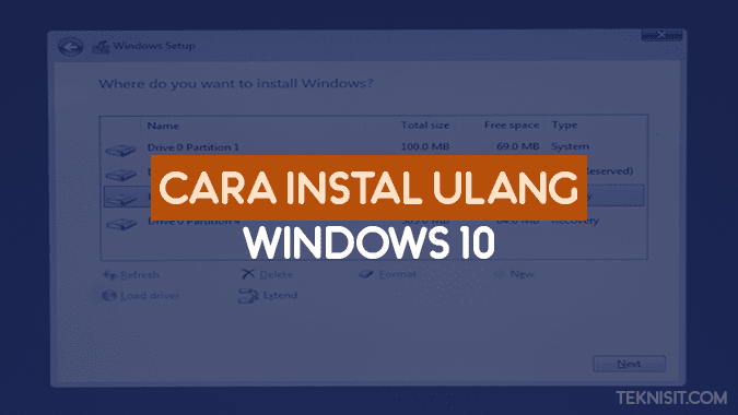 Cara instal ulang Windows 10
