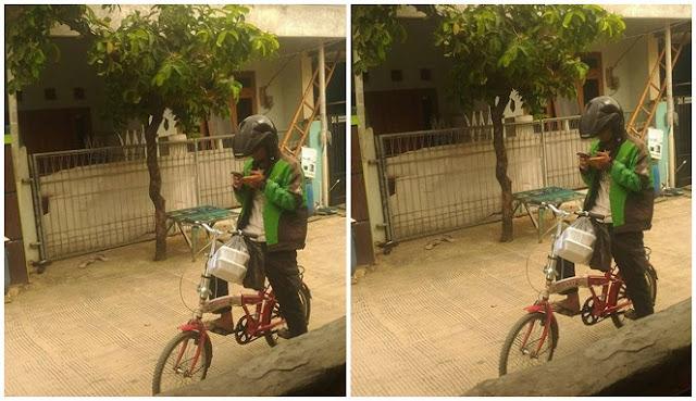 Pantang Menyerah, Driver Ojol Ini Gunakan Sepeda Pancal Karena Motornya Ditarik Leasing