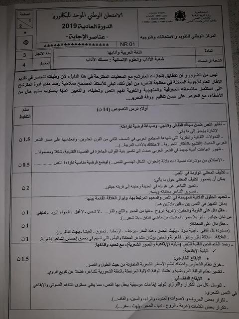 عناصر الاجابة للامتحان الوطني للبكالوريا مادة اللغة العربية مسلك الآداب