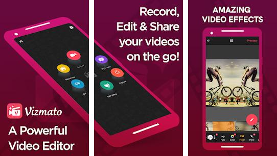 Vizmato Pro Mod Apk - Vizmato Pro Mod Apk adalah aplikasi yang sangat mudah digunakan untuk mengedit video dan didukung tampilan grafis yang sederhana tetapi menakjubkan. Aplikasi ini memungkinkan kamu dapat menambahkan Musik, Tema, Filter, Efek, Teks, dan Animasi menarik untuk mempercantik video mu.   Hasil editing di Vizmato Pro Mod Apk dapat kamu bagikan di media sosial seperti Instagram, WhatsApp, Facebook, dan juga Youtube dalam format Video HD atau Gif.  Kamu dapat mengedit video mu menjadi lebih menarik di Vizmato Pro Mod Apk dalam waktu yang singkat dengan menerapkan fitur – fitur yang ditawarkan Vizmato Pro Mod Apk ini sebagai hiasan pada video mu.   Lebih keren nya lagi, Vizmato Pro Mod Apk tanpa watermark yang biasanya membuat tampilan hasil editan video terlihat kurang profesional.  Jadi kalau kamu sedang mencari link download Vizmato Pro Mod Apk tanpa watermark update tahun 2020 maka kamu sedang berada di situs yang tepat sekarang. Pada artikel ini kami memberikanmu penjelasan tentang Vizmato Pro Mod Apk tanpa watermark beserta link downloadnya.   Fitur – Fitur Vizmato Pro Mod Apk Fitur – fitur yang ditawarkan Vizmato Pro Mod Apk ini terdiri dari beberapa jenis dan fungsinya sangat menakjubkan ketika diterapkan ke dalam video yang kamu edit. Berikut kamu akan kami jelaskan masing – masing fitur – fitur Vizmato Pro Mod Apk :  1. Video FX Fitur ini memungkinkan kamu dapat menambahkan lebih dari 40 efek visual menarik untuk membuat hasil editan video mu menjadi sangat keren. Termasuk juga ada beberapa efek yang biasa digunakan di film Hollywood.  2. Filter dan Tema Fitur ini memungkinkan kamu bebas memilih tema visual dan filter hingga +20 untuk mempercantik tampilan videomu mulai dari Hollywood Blockbuster Romantic, Old School, Haunted, dan masih banyak lagi yang lainnya.  3. Perekam Video dan Gif Fitur Vizmato Pro Mod Apk ini memungkinkan kamu dapat merekam video format HD dan Gif. Proses merekam video pada fitur ini kamu dapat memanfaatkan Tema, Filter,