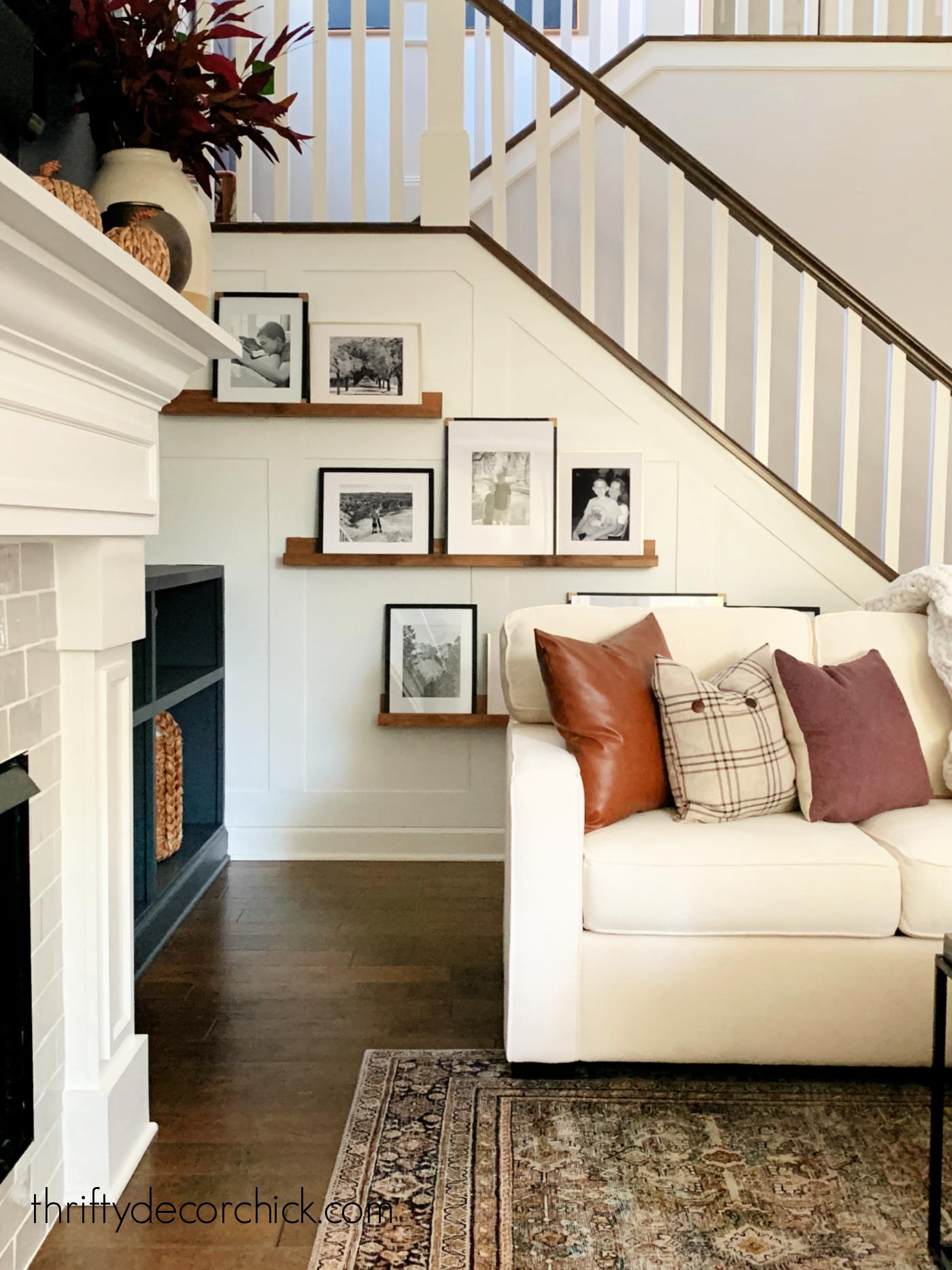 White sofa with warm pillows