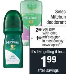 Mitchum Deodorant CVS Coupon Deal $0.99