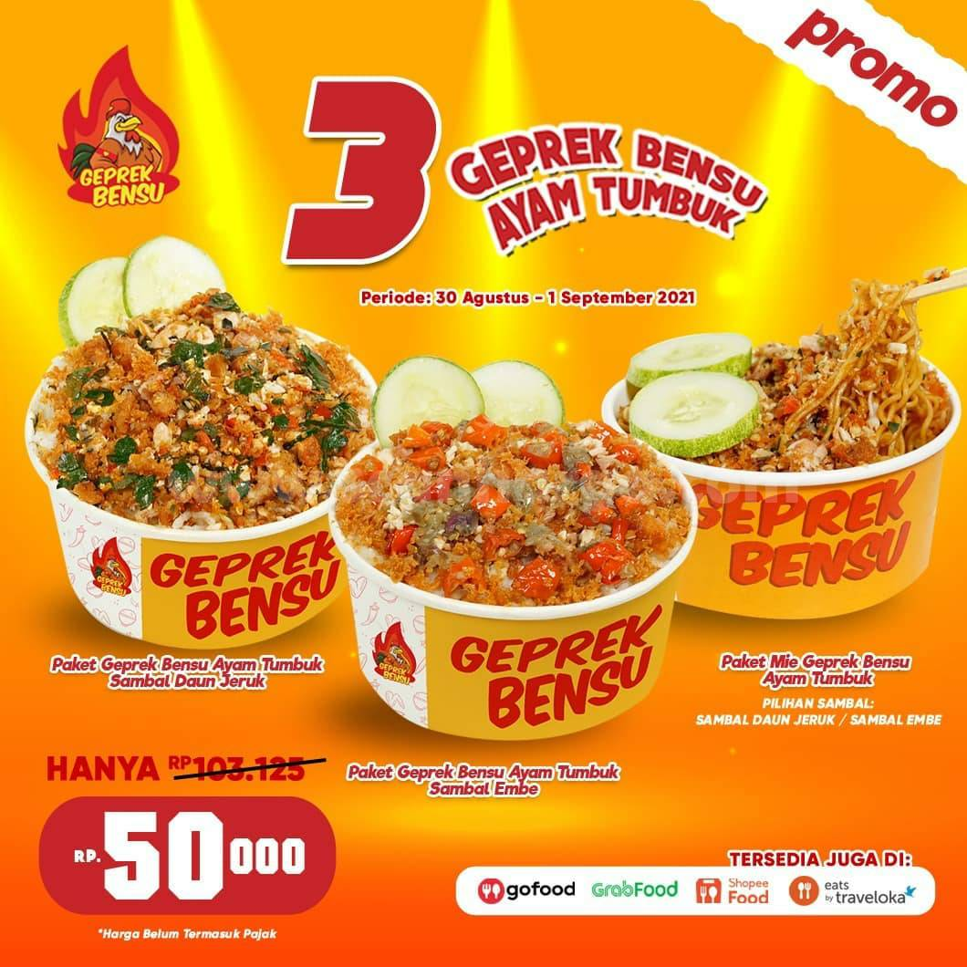 Geprek Bensu Promo 3 Ayam Tumbuk harga hanya 50 Ribu