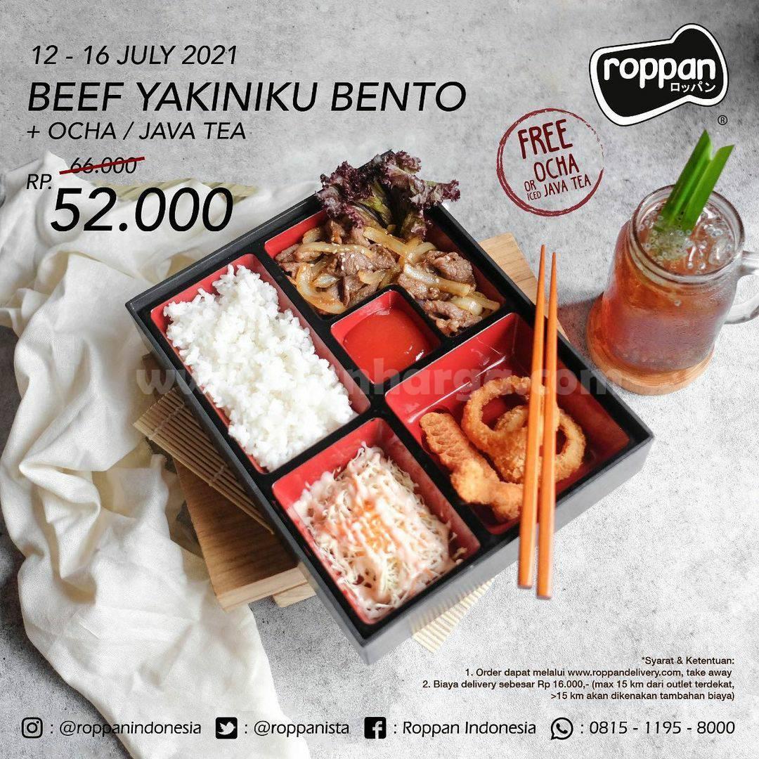 Promo ROPPAN - Beli Beef Yakiniku Bento + Ice Java Tea / Ocha cuma Rp. 52.000