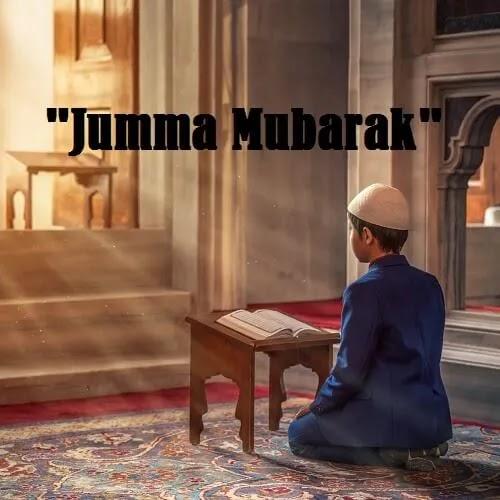 Jumma Mubarak DP with kid reading holy Quran