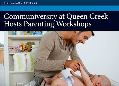 Image from flier: Father taking care of an infant in a crib.  Text: Rio Salado College and the Communiversity at Queen Creek Host Parenting Workshops