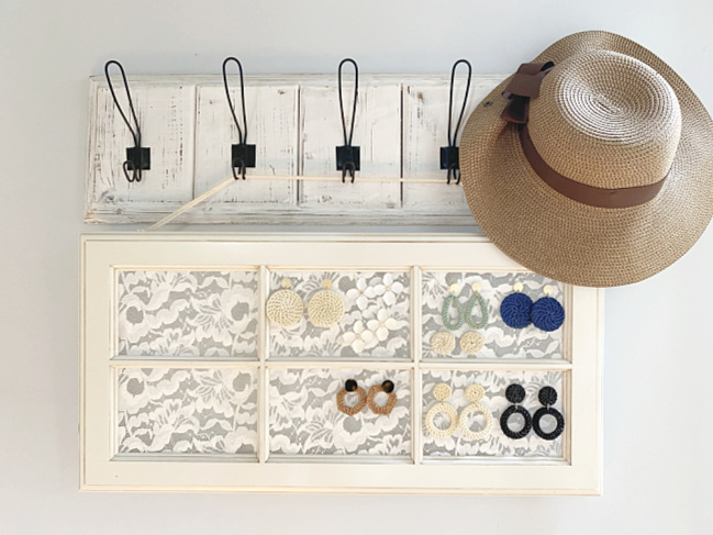 hanging earring window from hooks with hat