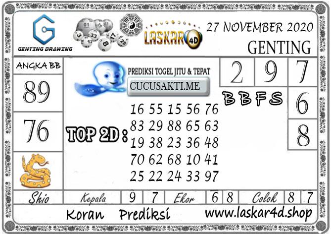 Prediksi GENTING DRAWING LASKAR4D 27 NOVEMBER 2020