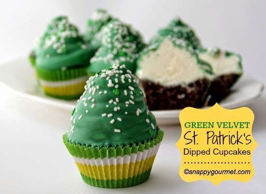 Green Velvet Dipped Cupcakes - FEATURED