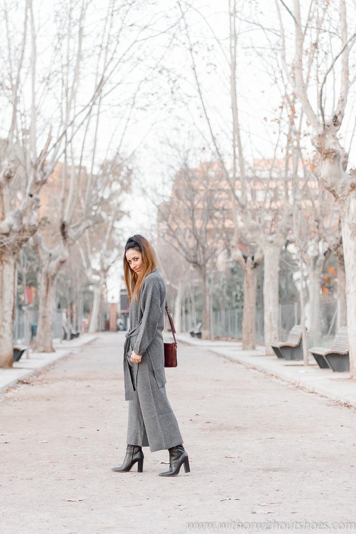 Tendencias: El punto en todas las prendas, Chaqueta y pantalones culotte color gris de Zara