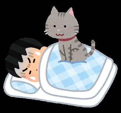 睡眠中に猫に乗られる人のイラスト(男性)