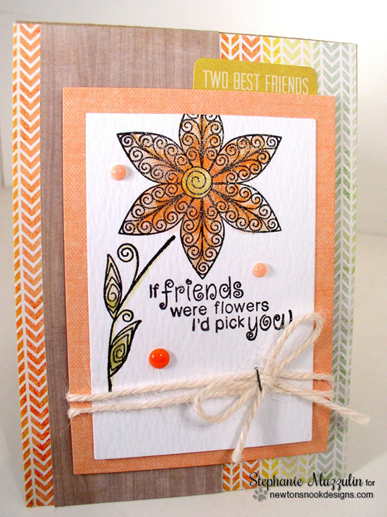 Flower Card by Stephanie Muzzulin | Beautiful Blossoms stamp set by Newton's Nook Designs