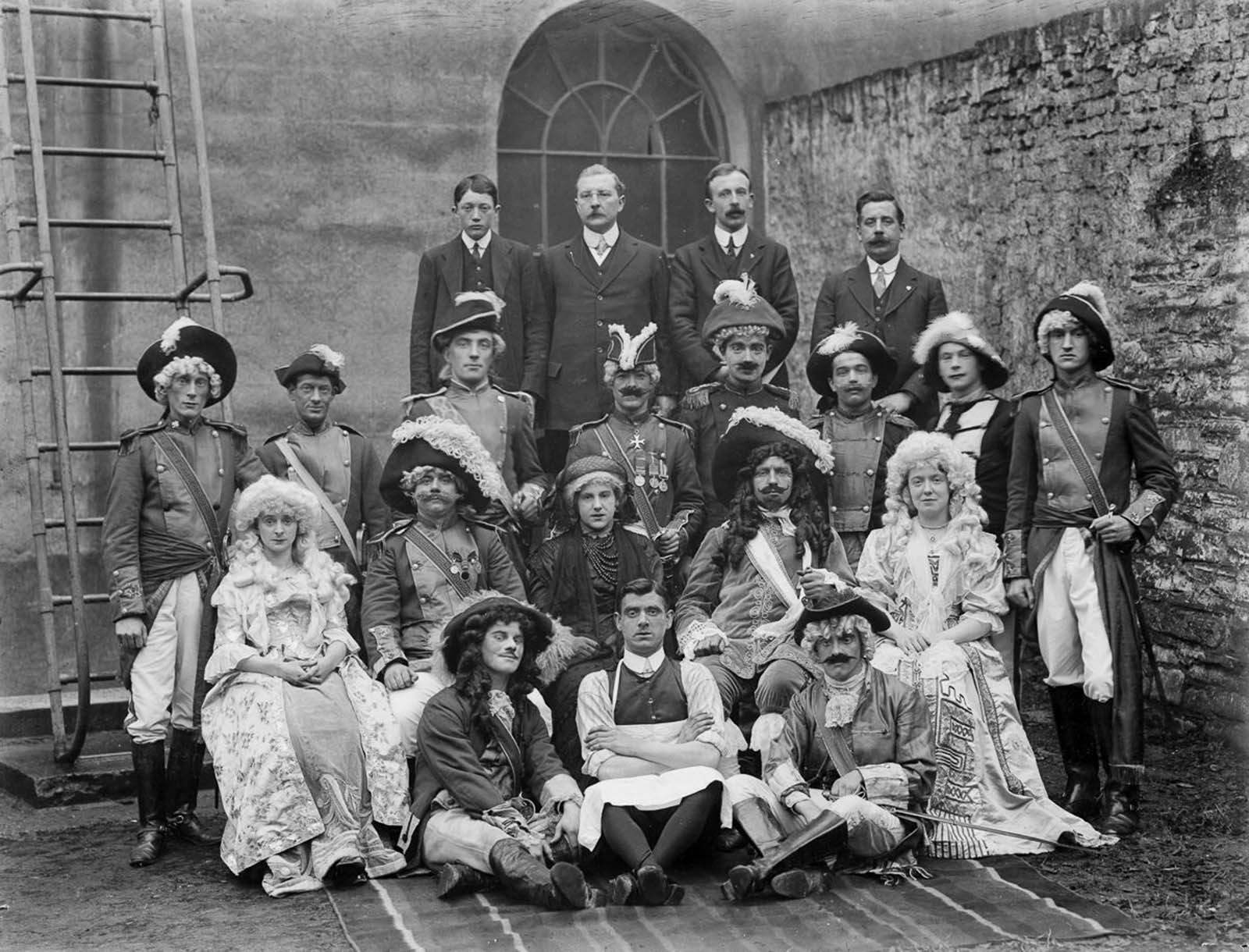 People in costume at the Theatre Royal in Waterford. 1914.