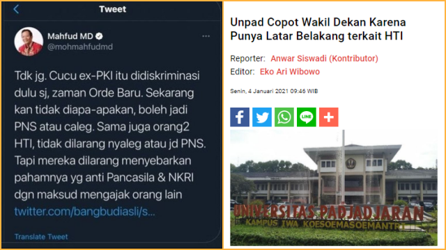 Wakil Dekan Dicopot gegara Eks HTI, Tengku Unggah Cuitan Lama Mahfud: Eks HTI boleh jadi PNS