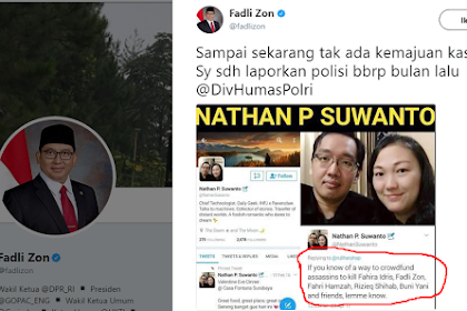 Fadli Zon: SARACEN Hanya Dagelan Baru! Nathan Suwanto Yang Jelas-jelas Ancam Membunuh Tak Ditangkap Polisi!