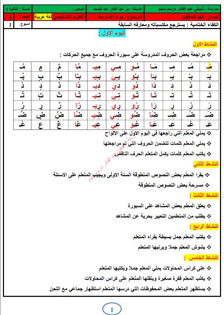 تحميل مذكرات أسبوع التقويم التشخيصي اللغة عربية السنة الثانية 2017/2018