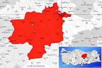 Akıncılar ilçesinin nerede olduğunu gösteren harita.