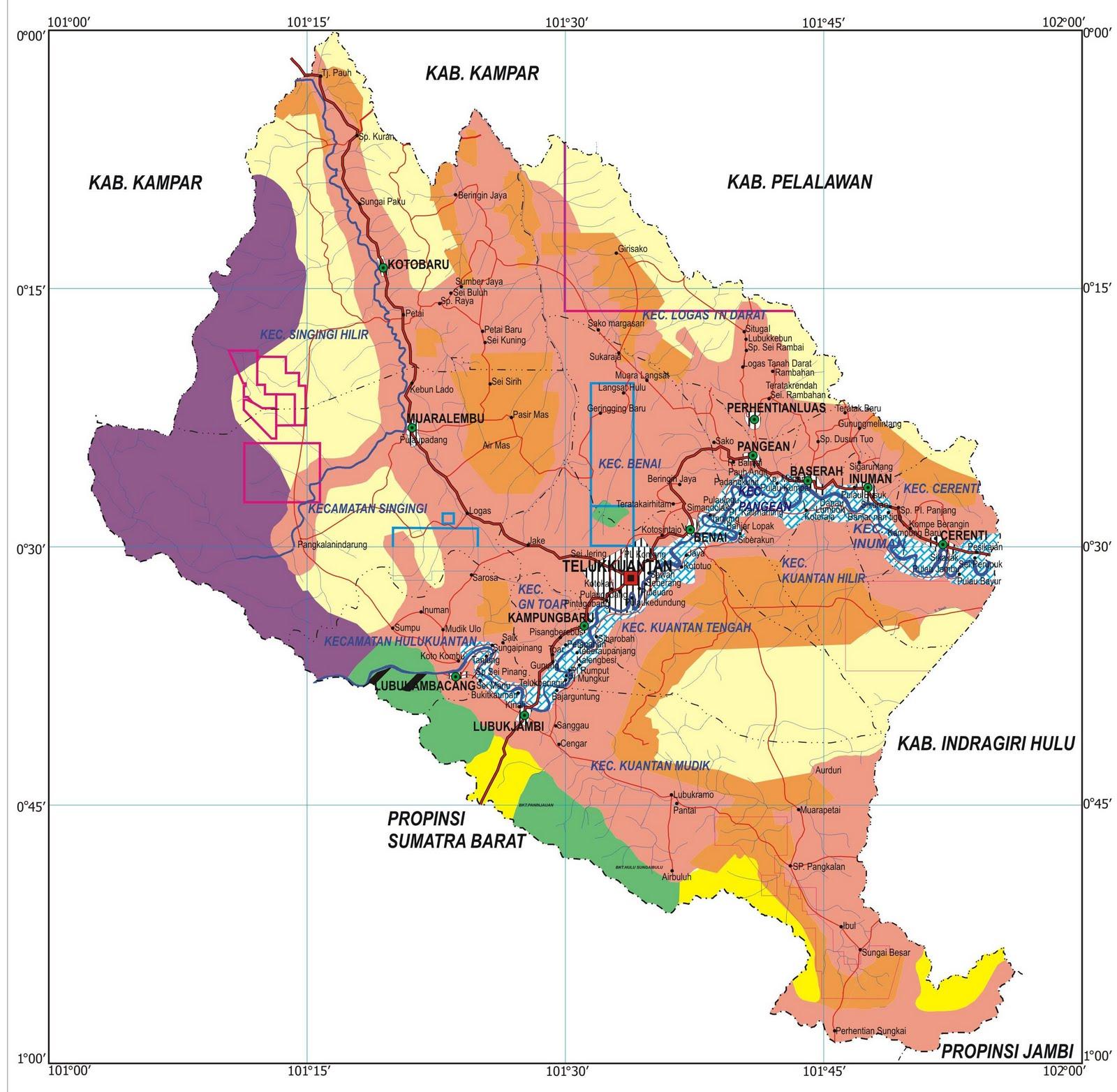 Peta Kota: Peta Kabupaten Kuantan Singingi