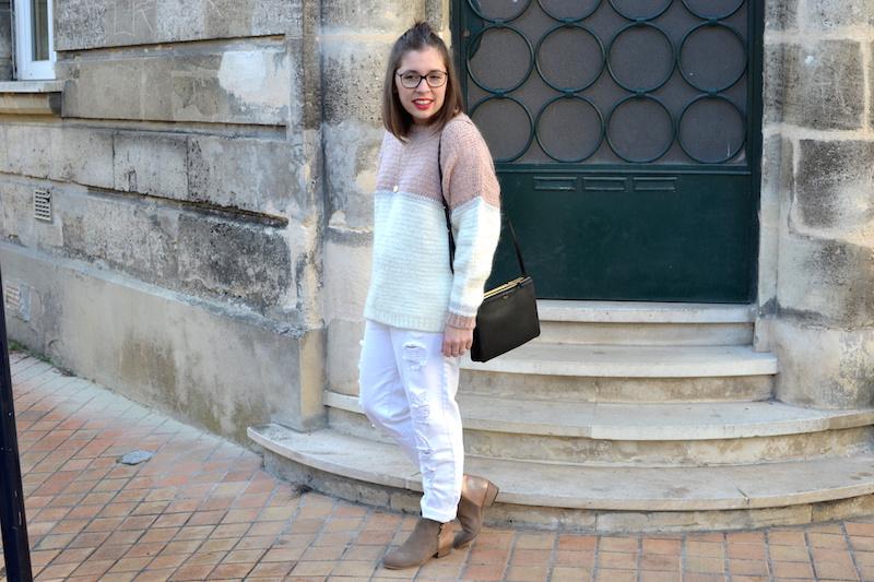 pull an'ge collection trouvé chez Boutique Adélaide, jean blanc Kiabi, bottines bakajoo, trio bag Céline