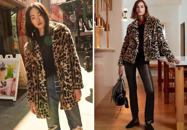 Девушки в леопардовой шубе и кожаных брюках и джинсах