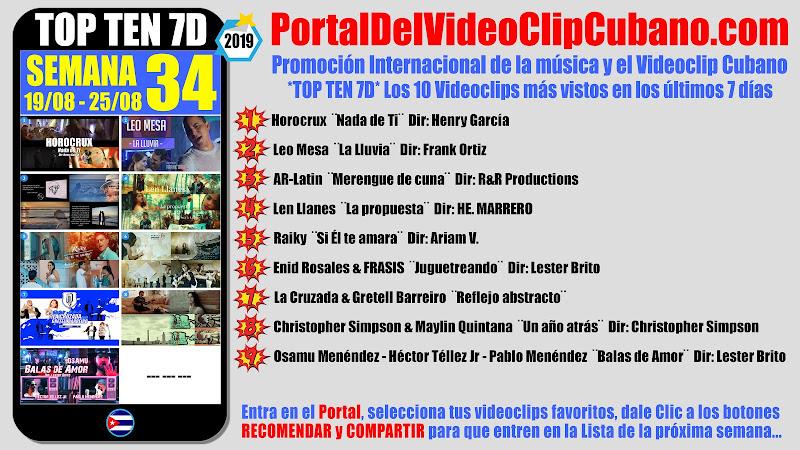 Artistas ganadores del * TOP TEN 7D * con los 10 Videoclips más vistos en la semana 34 (19/08 a 25/08 de 2019) en el Portal Del Vídeo Clip Cubano