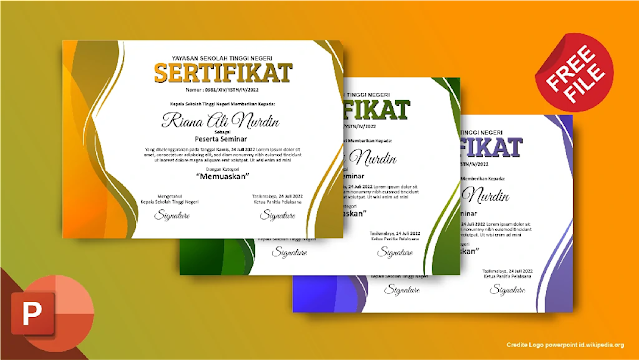 Download Kumpulan Contoh Sertifikat Seminar Dan Pelatihan Powerpoint