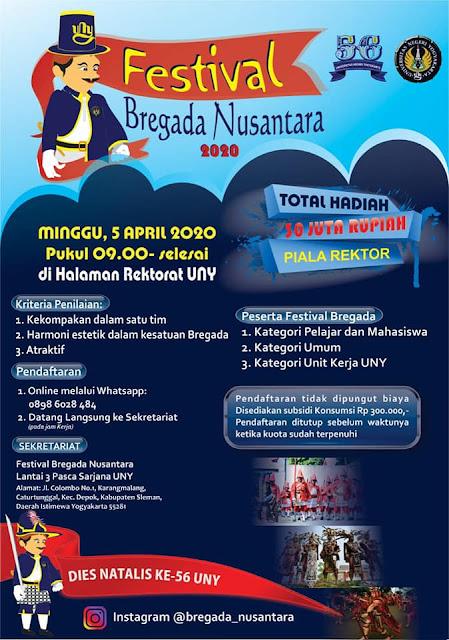 Ayo Daftarkan Tim Kalian di Festival Bregada Nusantara UNY 2020