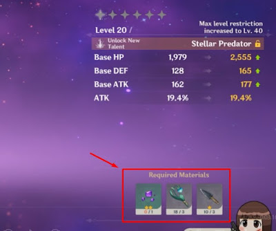 Cara Ascend Hero Genshin Impact Upgrade Level 40