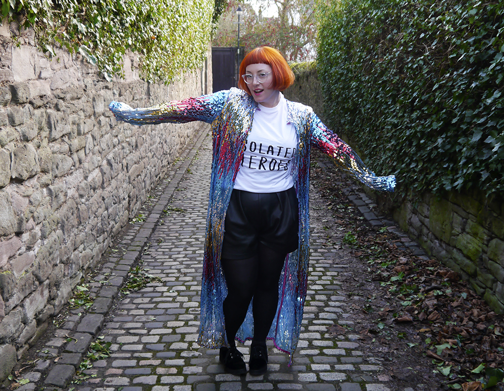 Isolated Heroes, Styled by Helen, Dundee designer, Scottish designer, Scottish blogger, Independent designer, street style, sequined outfit, sequined cardigan, sequined duster jacket